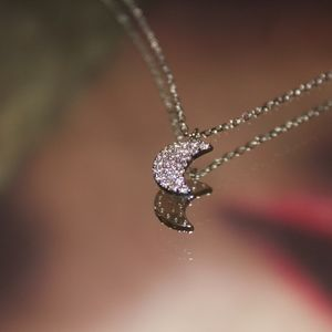 14kt Gold Dipped Pave Moon Necklace